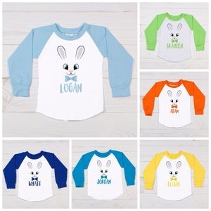 Other - 🆕Boys Personalized Easter Bunny Raglan Tee